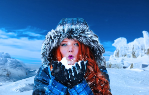 Picture winter, girl, snow, mountains, mood, hair, hood, red, redhead, curls