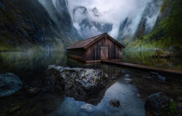Picture mountains, lake, Germany, house