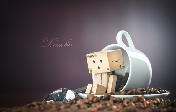 Picture coffee, spoon, mug, Danbo, grain, bokeh