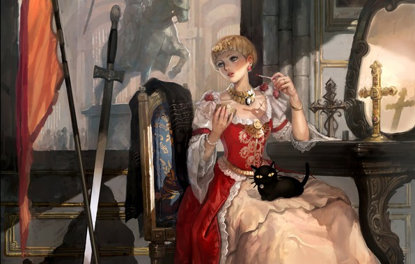 Picture girl, weapons, castle, cat, cross, sword, mirror, art, fragment, lady, The Dress Of Joan Of …