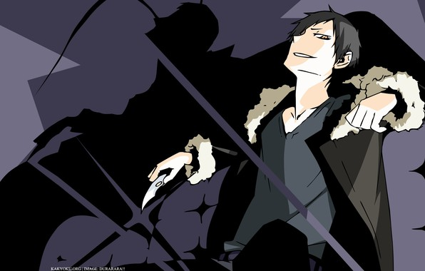 Picture villain, knife, grin, art, bully, black jacket, Durarara!!, The headless horseman, Orihara Izaya, Suzuhito Age …