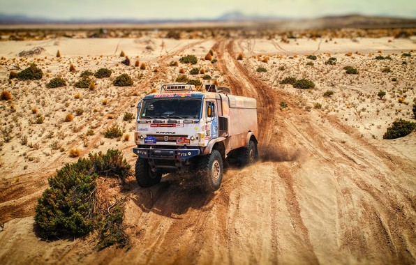Photo wallpaper Sand, Speed, Truck, Master, Russia, Kamaz, Rally, Dakar, KAMAZ-master, Dakar, Rally, KAMAZ, 507, The roads, ...