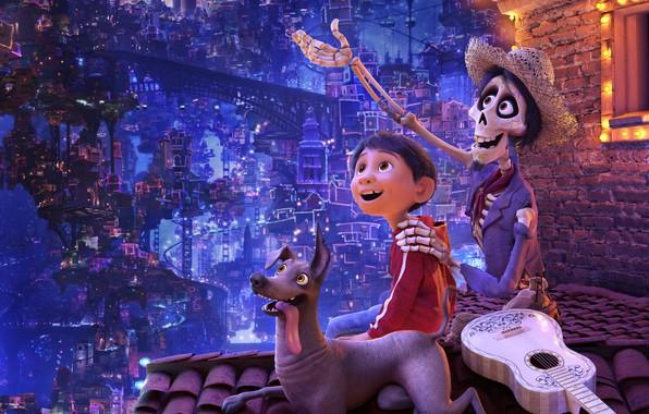 Picture night, the city, lights, cartoon, guitar, dog, hat, boy, fantasy, skeleton, Disney, PIXAR, Coco, The …