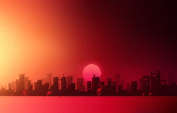 Picture Music, The city, The moon, Background, Art, Art, Miami, Hotline Miami, Synthpop, Darkwave, Synth, Retrowave, ...