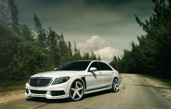Picture Mercedes, White, W222, S63AMG
