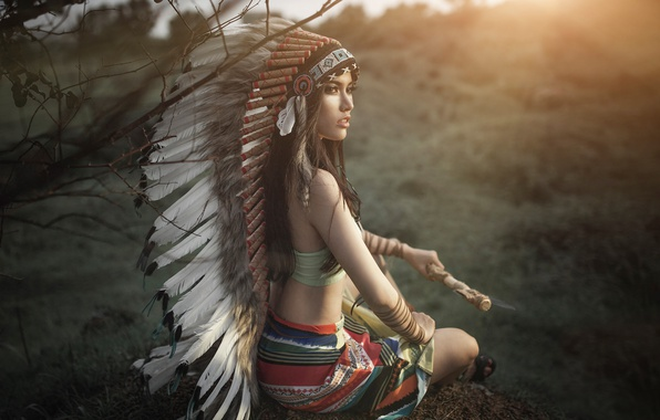 Picture girl, face, style, background, feathers, axe, headdress