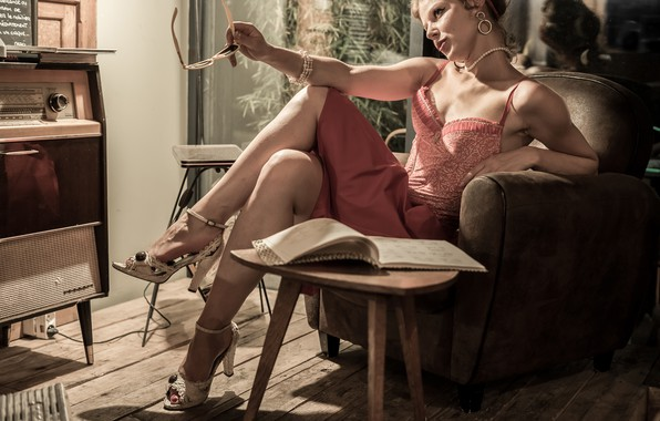 Picture girl, pose, style, chair, glasses, book, vintage, Radiola