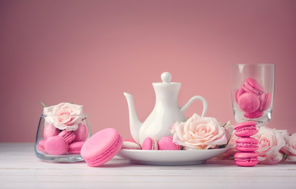 Picture flowers, roses, dessert, pink, flowers, cakes, sweet, sweet, dessert, roses, macaroon, french, macaron, macaroon