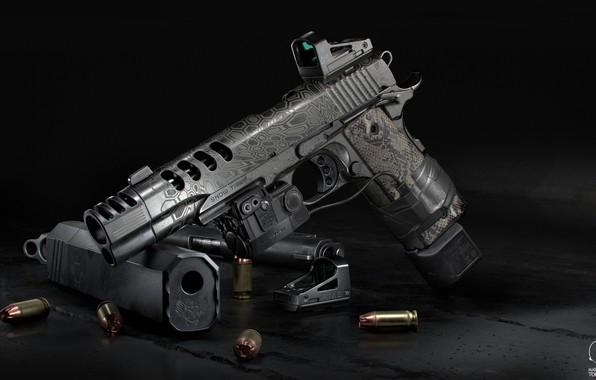 Picture gun, weapons, gun, weapon, custom, muffler, custom, M1911, M1911 pistol, laser sight, Kimber, silencer, laser …