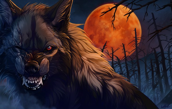 Picture night, wolf, wool, mouth, fangs, werewolf, art, scars, evil eye, blood Moon, mater, dead forest, …