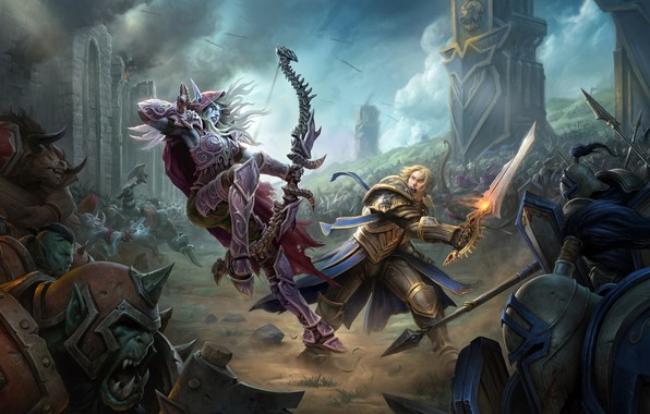 Photo wallpaper battlefield, game, battle, army, Sylvanas Windrunner, sword, axes, bow, armor, fantasy, warrior, artwork, elf, soldiers, ...