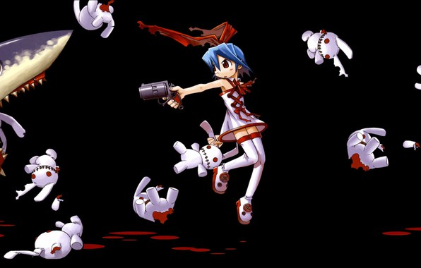 Picture hopelessness, gun, darkness, shark, mouth, blood, the victim, a pool of blood, Disgaea, Pleinair, white …
