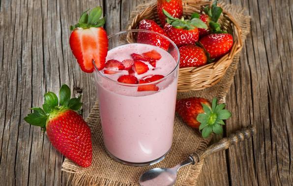 Picture glass, Breakfast, milk, strawberry, strawberry, yogurt, yogurt