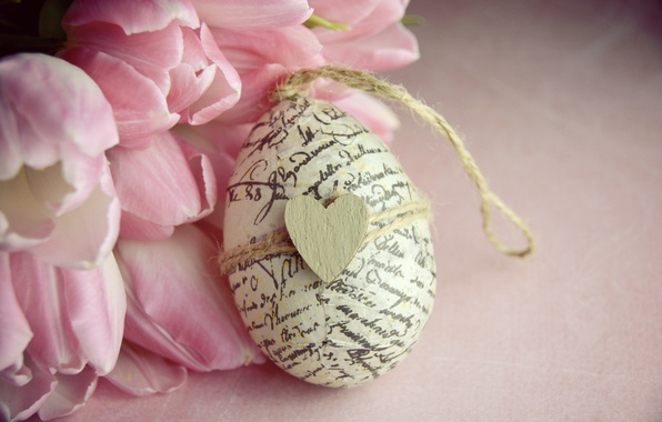 Picture flowers, bouquet, Easter, tulips, heart, wood, pink, romantic, tulips, spring, Easter, pink tulips, egg