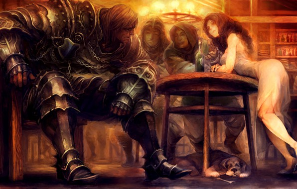 Wallpaper girl, fantasy, soldier, armor, Warrior, dog, men ...