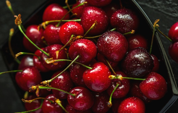 Picture drops, cherry, berries, the dark background, box, food, harvest, container, red, scarlet, a lot, cherry, …