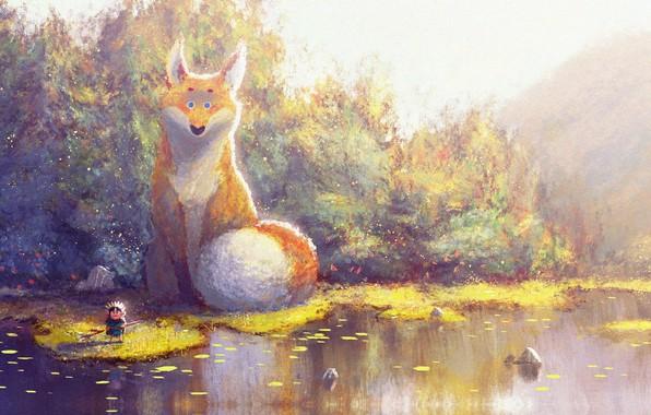 Picture autumn, art, Fox, fantasy, children's, Prince of Sunflower scene 4, Gop Gap