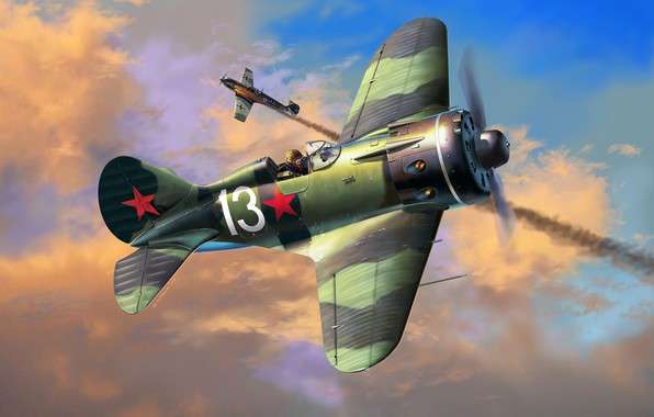 Picture art, USSR, Messerschmitt, Soviet fighter, The great Patriotic war, -16, THE RED ARMY AIR FORCE, …