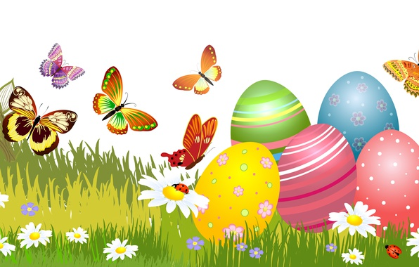 Picture Grass, Chamomile, Butterfly, Easter, Eggs, Holiday, Vector Graphics