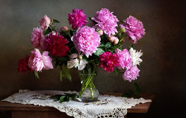 Photo wallpaper bouquet, peonies, still life