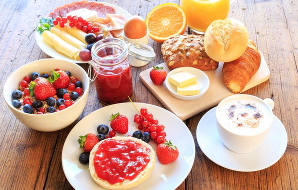 Picture berries, coffee, Breakfast, strawberry, juice, cakes, jam, cutting, muesli, orange