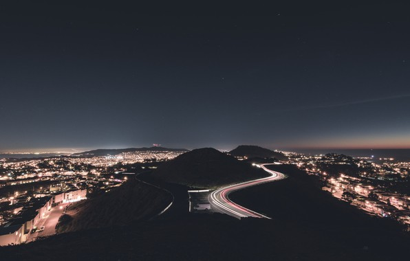 Picture lights, night, san francisco, twin peaks