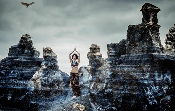 Picture girl, rocks, bird, yoga