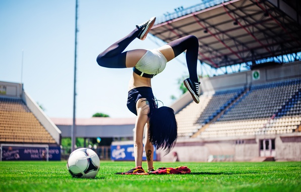 Picture Football, ball, pose, female, workout, yoga