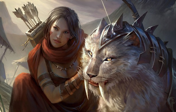 Picture fantasy, art, Legend of the Cryptids, Fajareka Setiawan, fragment, Brea the Untamed (Reg)