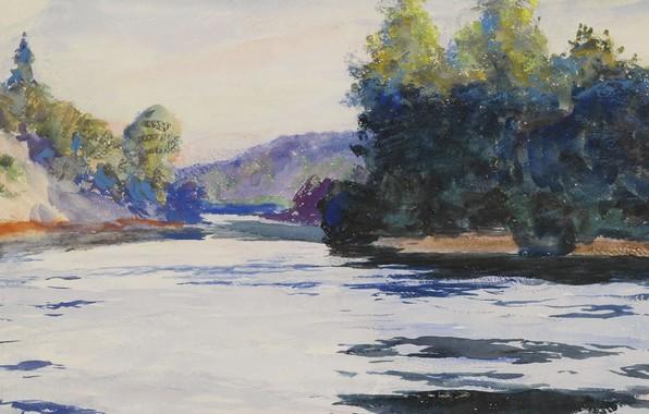 Picture figure, watercolor, Frank Weston Benson, River landscape