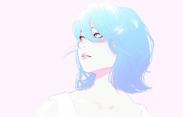 Picture face, haircut, blue hair, bangs, portrait of a girl, Ilya Kuvshinov