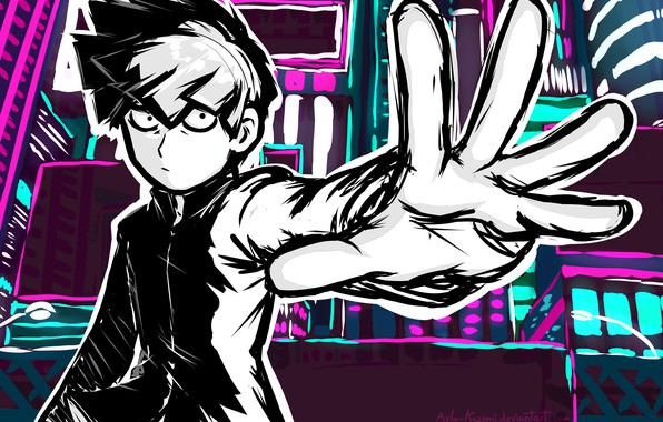 Photo wallpaper anime, hand, Mob psycho 100, guy, art, Mob Psycho 100, look
