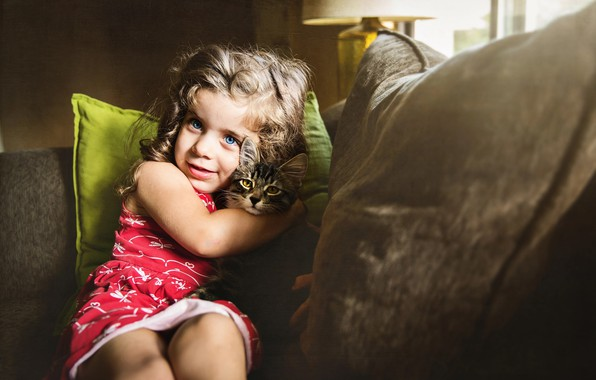 Picture cat, cat, smile, animal, pillow, girl, child