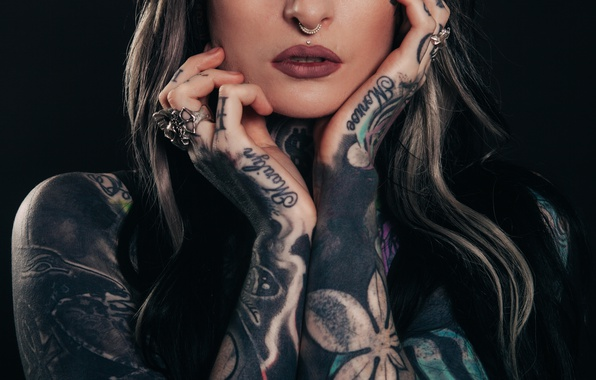 Picture Tattoos Body piercing Girls Hands Glance