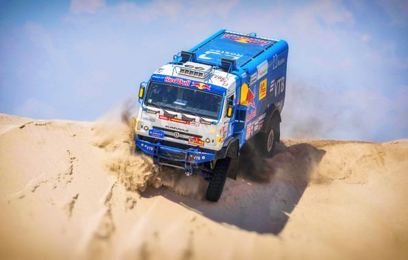 Photo wallpaper Sand, Truck, Race, Master, Russia, Kamaz, Rally, Dakar, KAMAZ-master, Dakar, Rally, KAMAZ, 507, The roads, ...