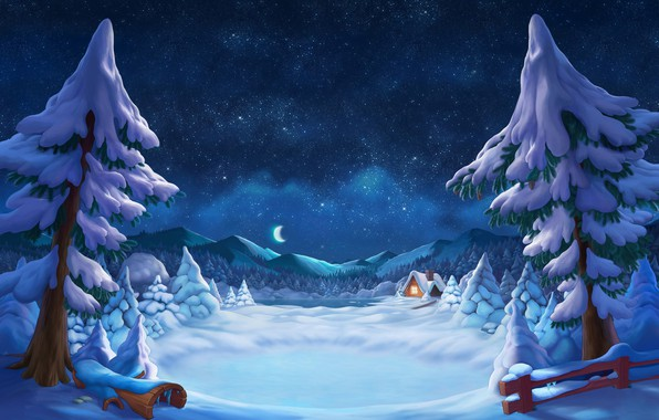 Picture house, forest, Winter, sky, trees, landscape, nature, mountains, snow, stars, digital art, artwork, illustration, starry ...