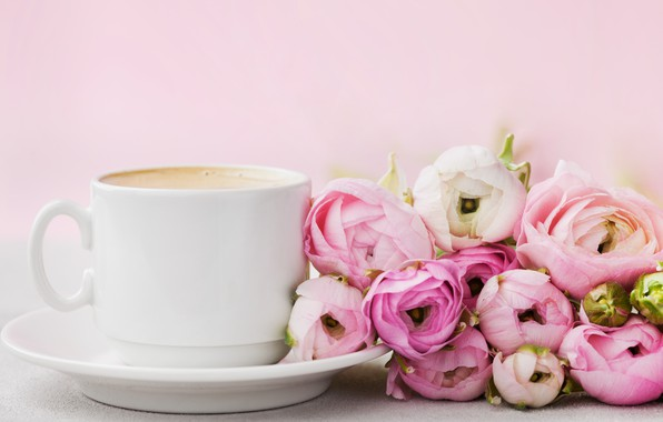 Picture flowers, roses, Cup, pink, pink, flowers, beautiful, cup, romantic, coffee, roses, tender