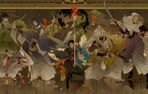 Picture weapons, the game, anime, art, guys, characters, Touken Ranbu