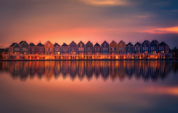 Picture Holland, Water, Sunset, Reflection, Lightroom, Homes, Neighbours