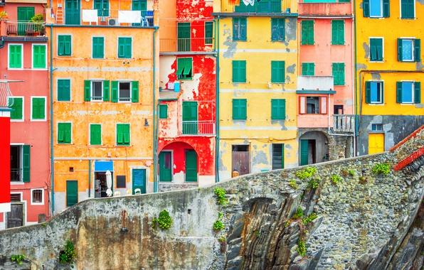 Picture rocks, coast, Villa, Italy, houses, Riomaggiore, travel