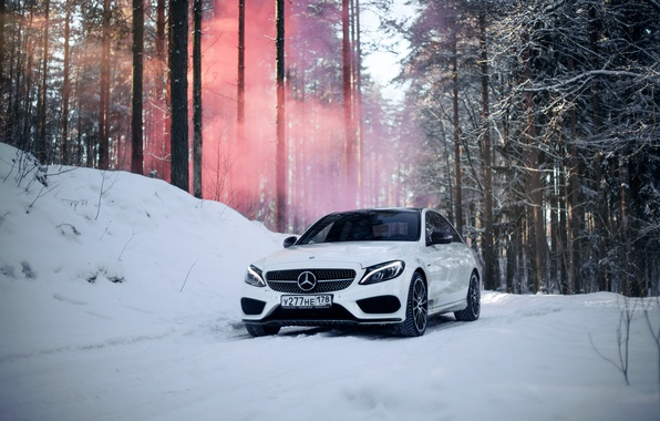 Photo wallpaper winter, car, machine, auto, city, fog, race, tale, car, red, mercedes, sports car, car, need ...