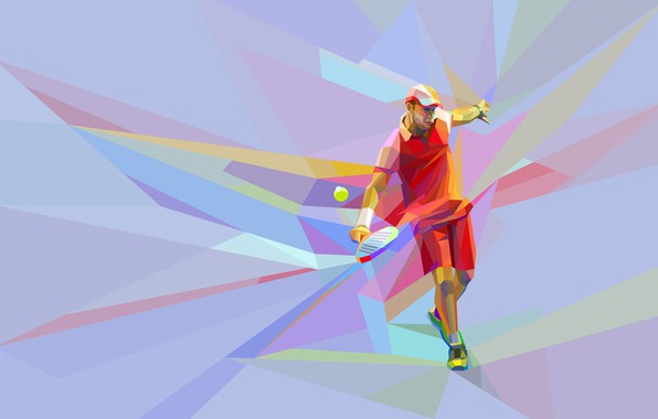 Picture the game, the ball, racket, blow, tennis, tennis player, low poly