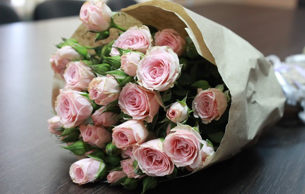 Picture roses, bouquet, pink rose, the bouquet on the table