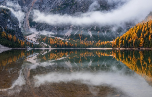 Picture autumn, forest, clouds, mountains, nature, fog, lake