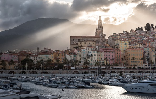 Photo wallpaper clouds, landscape, mountains, clouds, river, palm trees, France, home, yachts, boats, boats, the rays of ...