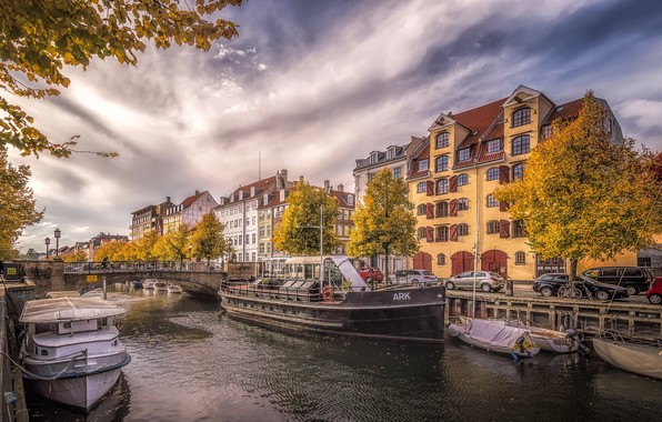 Picture autumn, the city, Denmark, channel, capital, Copenhagen