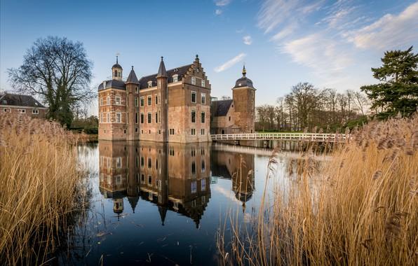 Picture reflection, castle, Netherlands, Holland, Castle Ruurlo