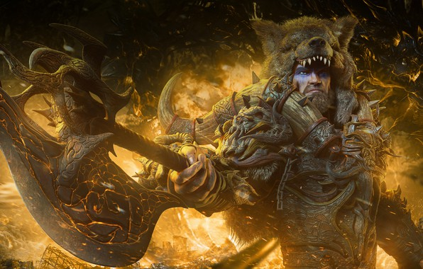 Photo wallpaper fire, barbarian, warrior, the demon, raw, male, bear