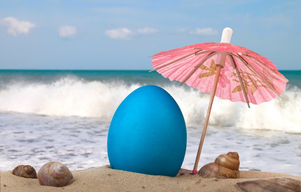 Picture sand, sea, beach, the sky, clouds, umbrella, mood, stay, wave, horizon, shell, resort, sunlight, Easter …