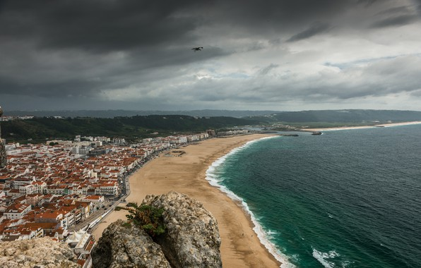 Picture Sea, The city, Bird, Panorama, Promenade, Portugal, Landscape, Sky, Portugal, Bird, Sea, Panorama, Town, Cloudy …